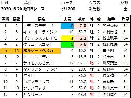 20200620阪神5結果
